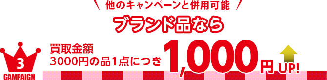 ブランド品なら買取金額3000円の品1点につき1,000円UP