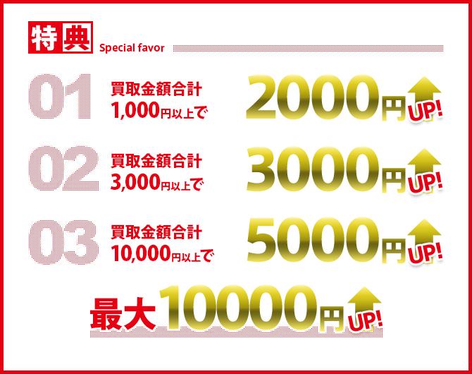 特典 01買取合計1,000円以上で2000円UP  02買取金額合計3,000円以上で3000UP  買取金額合計10,000円以上で5000円UP 最大10000円UP